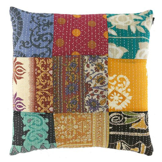 Square Patchwork Kantha Pillow
