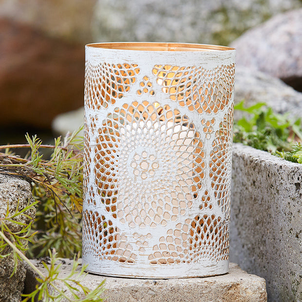 Distressed White Cutout Metal Lantern