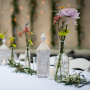Distressed White and Gold Metal Minaret Votive Lantern perfect for Wedding Receptions