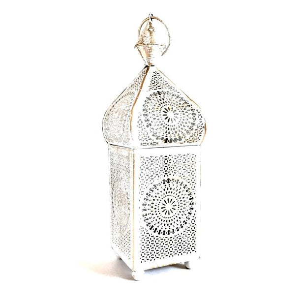 Distressed White and Gold Metal Minaret Votive Lantern
