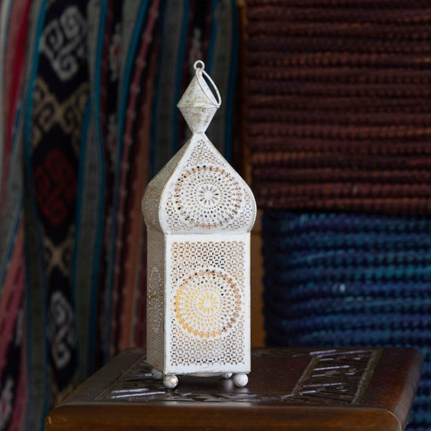 Distressed White and Gold Metal Minaret Votive Lantern-lifestyle