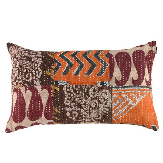 Patchwork Kantha Lumbar Pillow