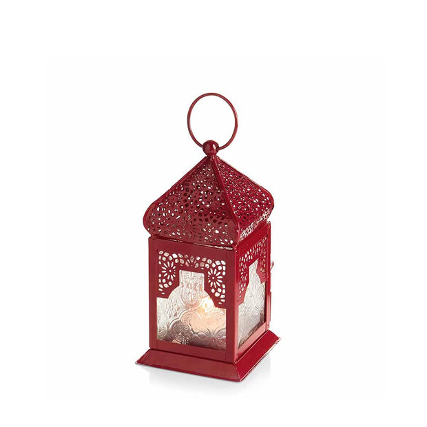 Red Moroccan Inspired Small Metal Lantern