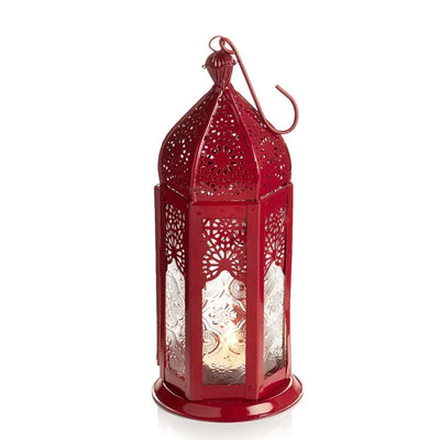 Red Moroccan Motif Medium Metal Lantern