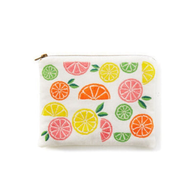Hand-embroidered Citrus Pouch