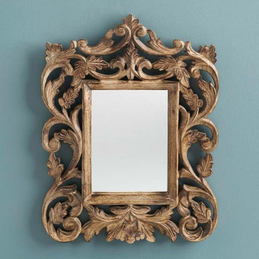 Ornate Mango Wood Accent Mirror