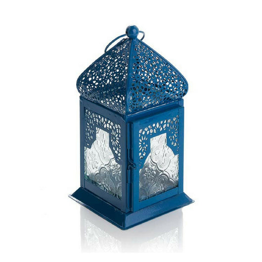 Blue Moroccan Inspired Small Metal Lantern