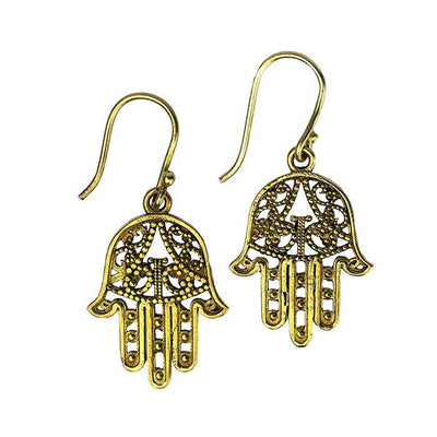 Fair Trade Hamsa Hand Brass Earrings