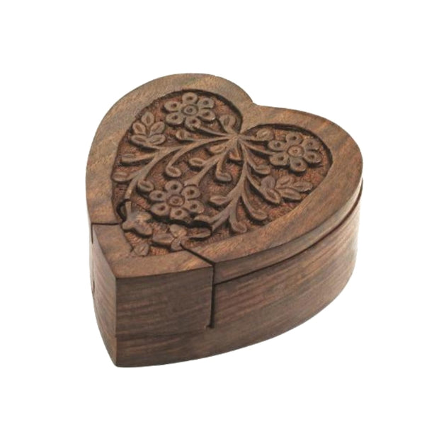 Hand-carved Sheesham Wood Heart Puzzle Box