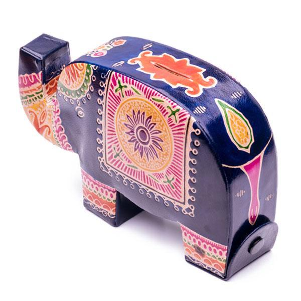 Fair Trade Embossed Leather Elephant Bank back view