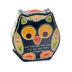Fair Trade Embossed Leather Owl Bank