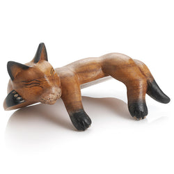Hand-Carved Napping Shelf Cat