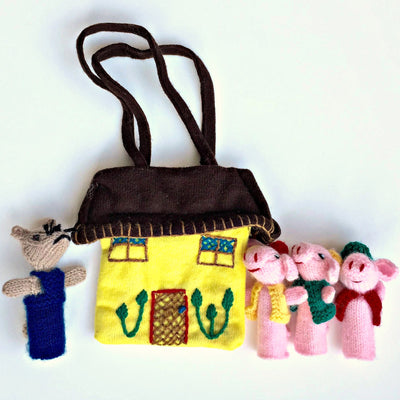Three Little Pigs & Bad Wolf Finger Puppet Set