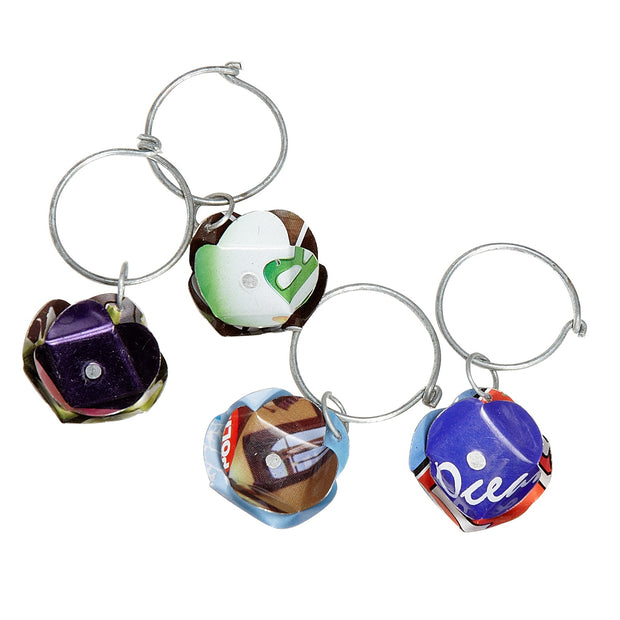 Recycled Cans Wine Charms set of 4 in a gift box