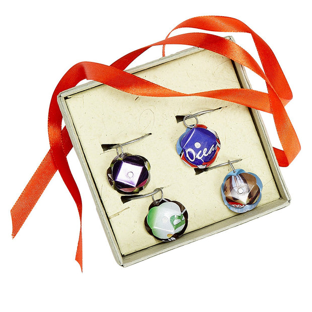 Recycled Cans Wine Charms Gift Box (set of 4)