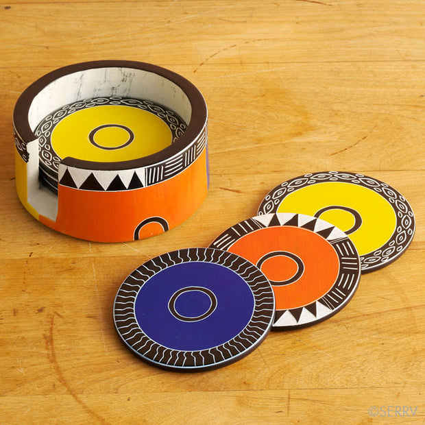 Set of six African Motif Soapstone Coasters