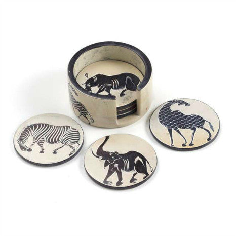 African Animal Soapstone Coaster Set