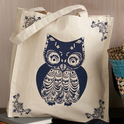 Screen Printed Owl Canvas Tote