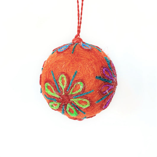 Floral Twine and Jute Ball Ornament - Orange