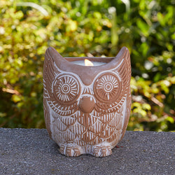 Large Terracotta Owl Citronella Candle