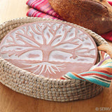 Tree of Life Terracotta Bread Warmer & Kaisa Grass Basket Set