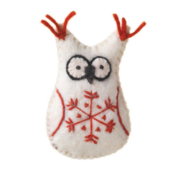Felted Snowflake White Owl Ornament