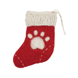 Felted Paw Print Stocking Gift Card Holder Ornament red