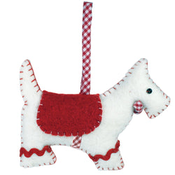 Fair Trade Felted Gingham Scottie Ornament