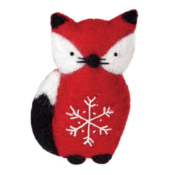 Felted Snowflake Fox Ornament