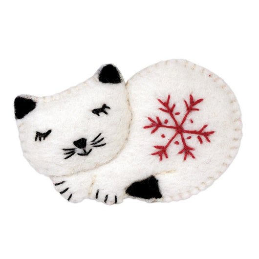 Felted Snowflake Kitty Ornament