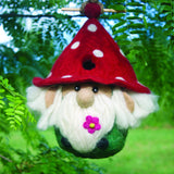 Felted Wool Birdhouse: Garden Gnome