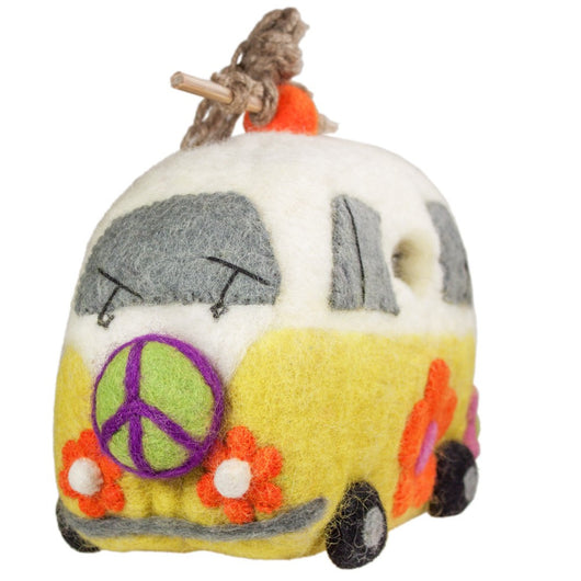Felted Wool Birdhouse: Magic Peace Bus