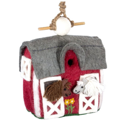 Felted Wool Birdhouse: Red Country Barn