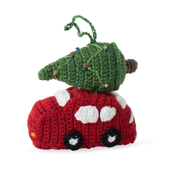 Crocheted Christmans Tree on Top of a Car Ornament