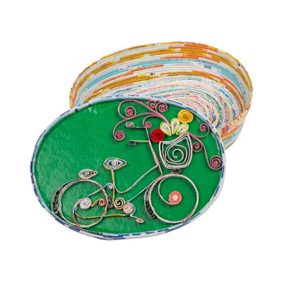 Upcycled Paper Bicycle Sweet Ride Oval Box
