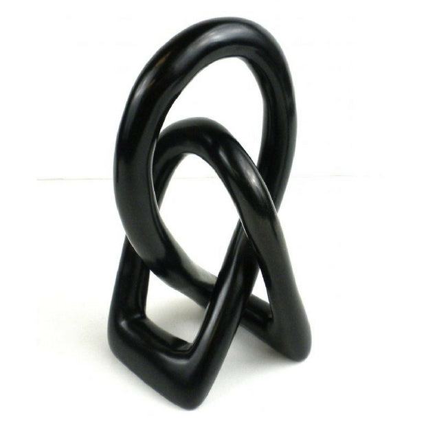 6-inch Lovers Knot Black Soapstone Sculpture