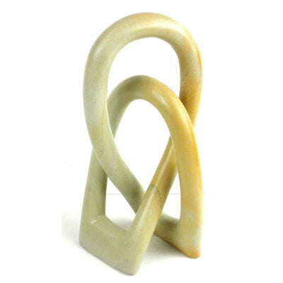 6-inch Lovers Knot Natural Cream Soapstone Sculpture