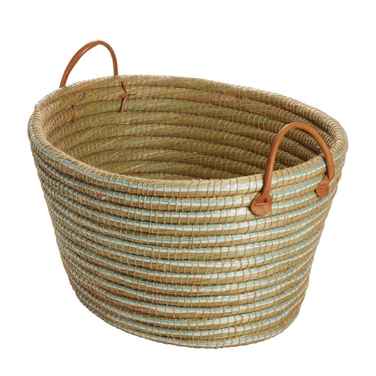 Kaisa Grass Laundry Basket with Leather Handles