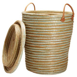 Kaisa Grass Lidded Hamper Basket with Leather Handles