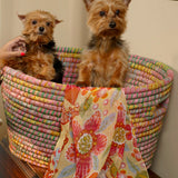 Recycled Sari and Kaisa Grass Laundry Basket lifestyle