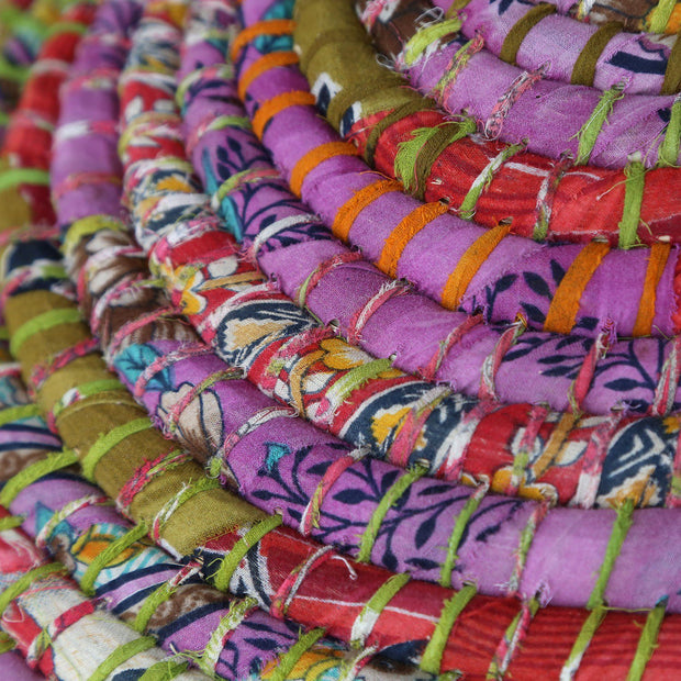 Kaisa Grass and Recycled Sari Lidded Hamper Basket detail