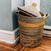 Kaisa Grass and Recycled Sari Lidded Hamper Basket lifestyle