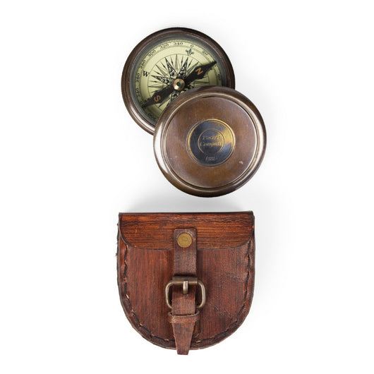 Wanderer's Pocket Compass in Leather Case
