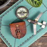 Wanderer's Pocket Compass in Leather Case lifestyle