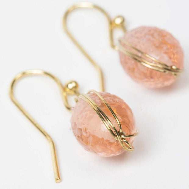 Blush Glass Bead Earrings detail