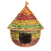 Cone Shape Multicolor Metal and Recycled Candy Wrappers Birdhouse