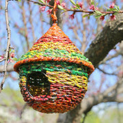 Cone Shape Multicolor Metal and Recycled Candy Wrappers Birdhouse lifestyle