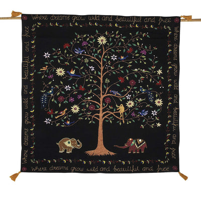 Embroidered Dream Tree Wall Hanging front view