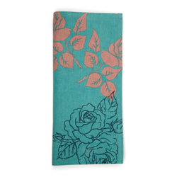 Aqua Flower Cotton Tea Towel