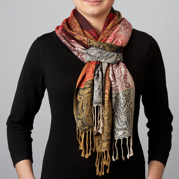Jacquard Blocks Scarf lifestyle